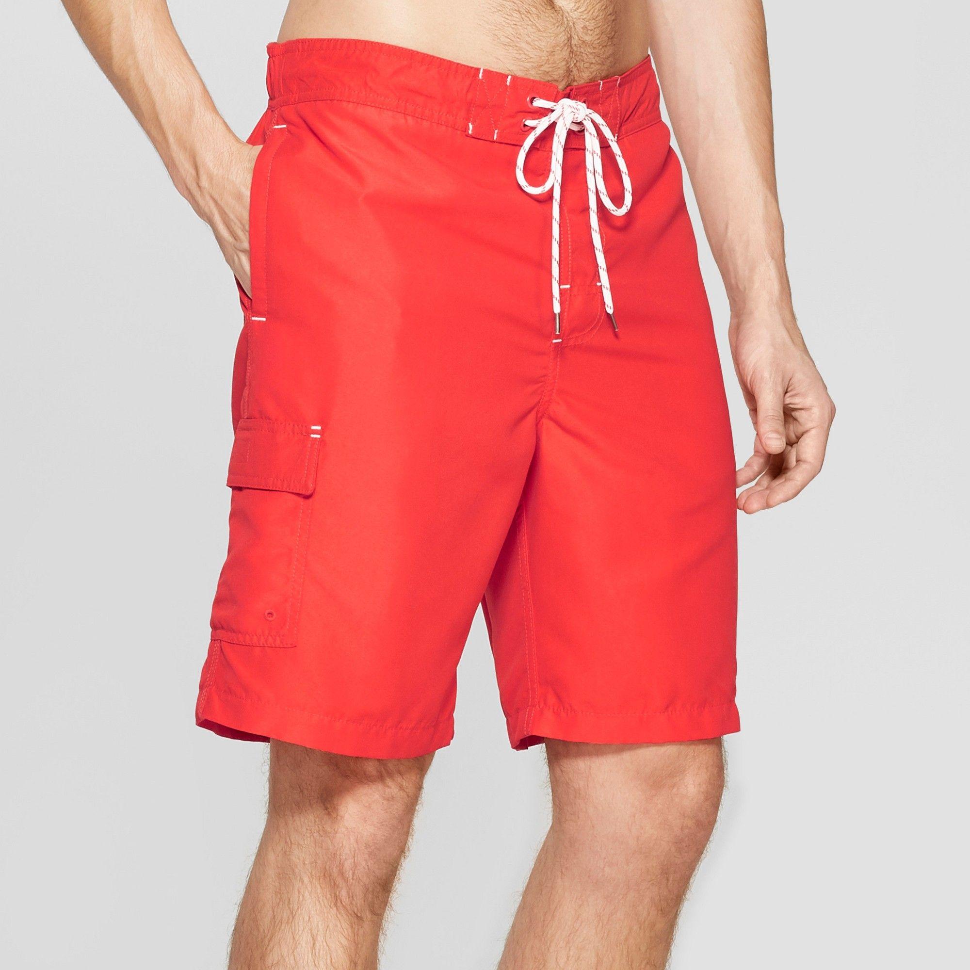 03df8fb41b Men's Big & Tall 9 Swim Trunks - Goodfellow & Co Red 3XL | Products ...