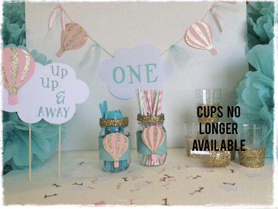 First Birthday Baby Girl Hot Air Balloon Themed Party Decor Package Cake Topper Confetti Utens