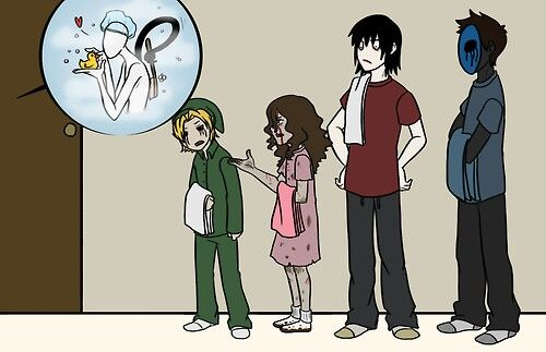 Ben, Jane, Jeff, and Eyeless Jack waiting for slendy to get out of the shower XD