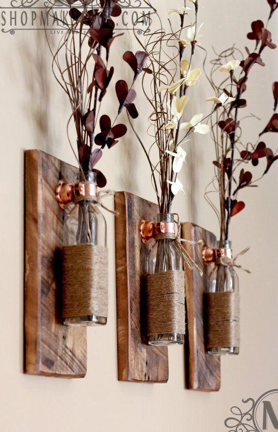 Rustic Wall Sconce.Mason Jar Sconce.Wood Wall by ShopMakarios #masonjardecorating