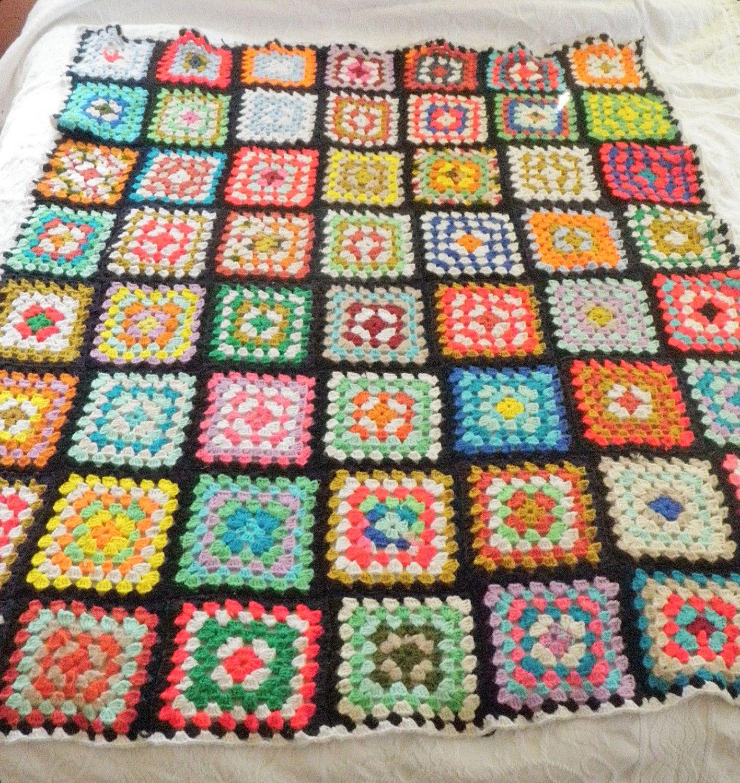 handmade vintage afghan throw blanket large granny square black  - handmade vintage afghan throw blanket large granny square black colorful x  by