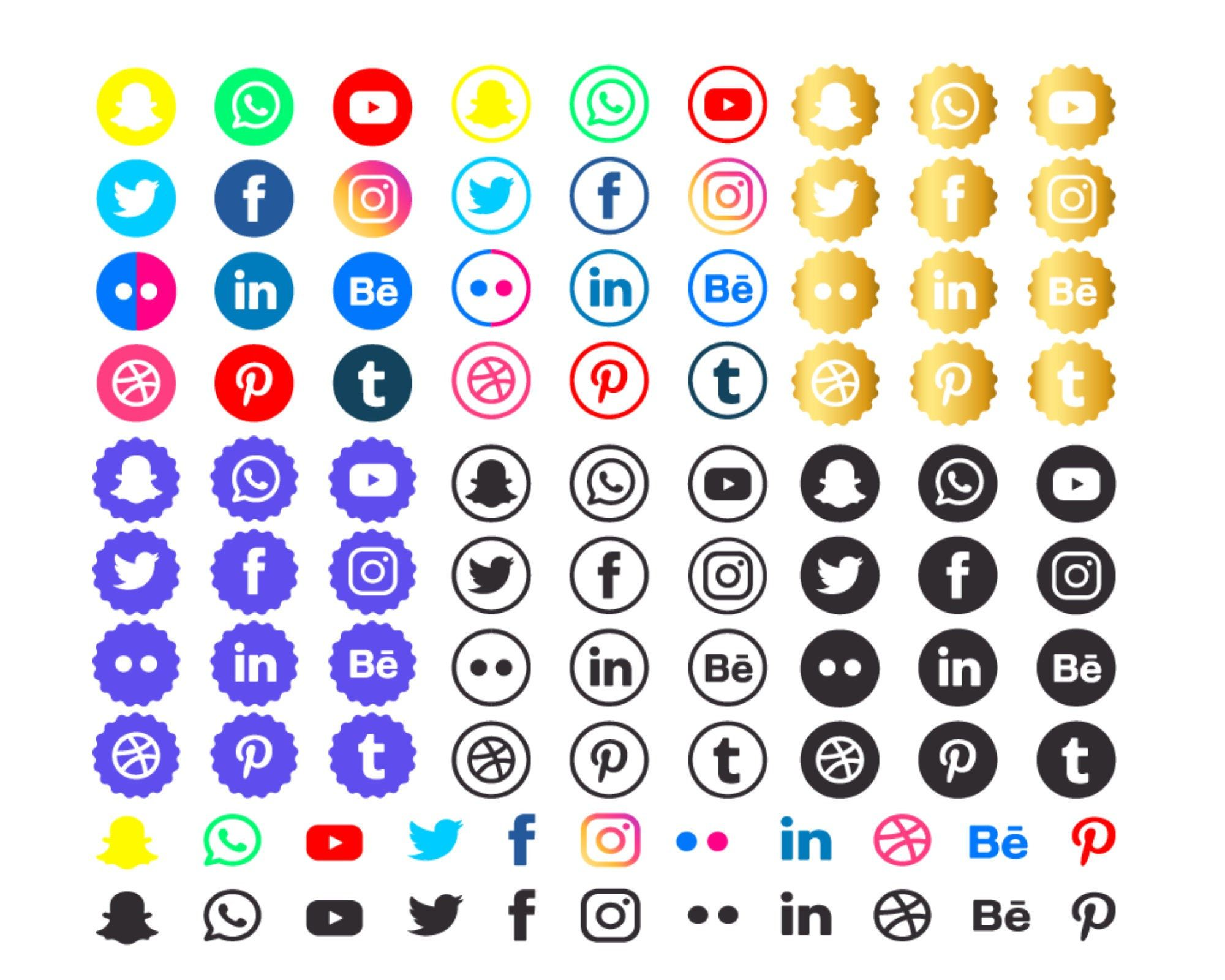 Social Media icon Set & Logo SVG/Ai/EPS Files Instant