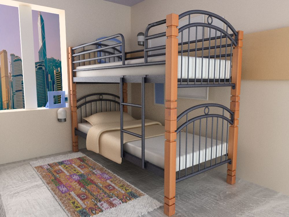 Sydney Bunk Bed Solid Rubber Wood Post Australian Model With High