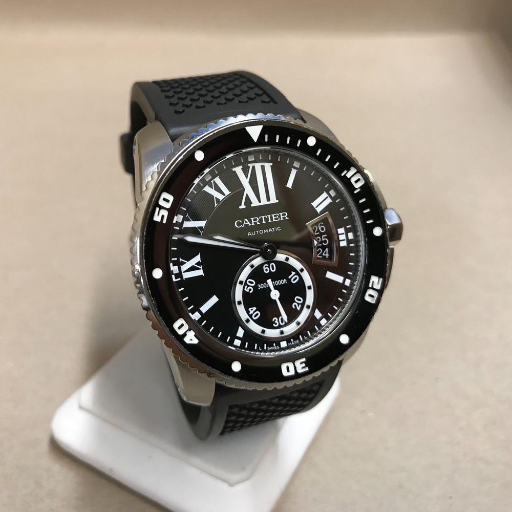 Cartier Calibre De Cartier Diver S Watch Automatic Men S Ref 3729 Black Band Cartier Calibre Divers Watch Cartier