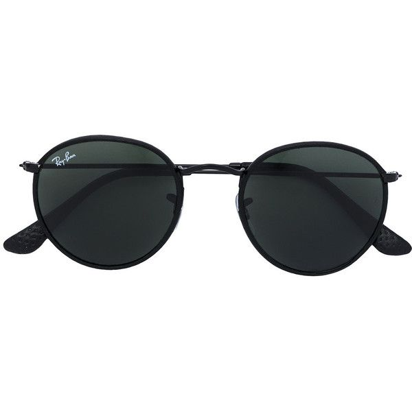 c91188bb1d Ray-Ban round frame sunglasses (€240) ❤ liked on Polyvore featuring  accessories, eyewear, sunglasses, black, round frame sunglasses, round  sunglasses, ray ...