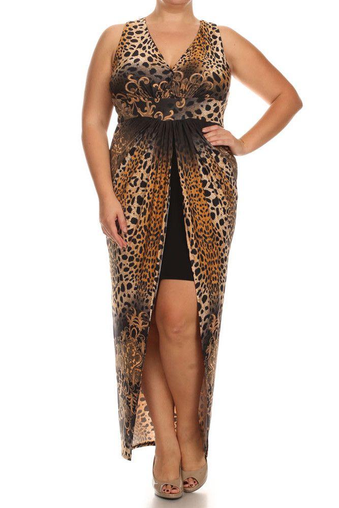 Plus Size Crossed Back Leopard Print Maxi Dress – PLUSSIZEFIX