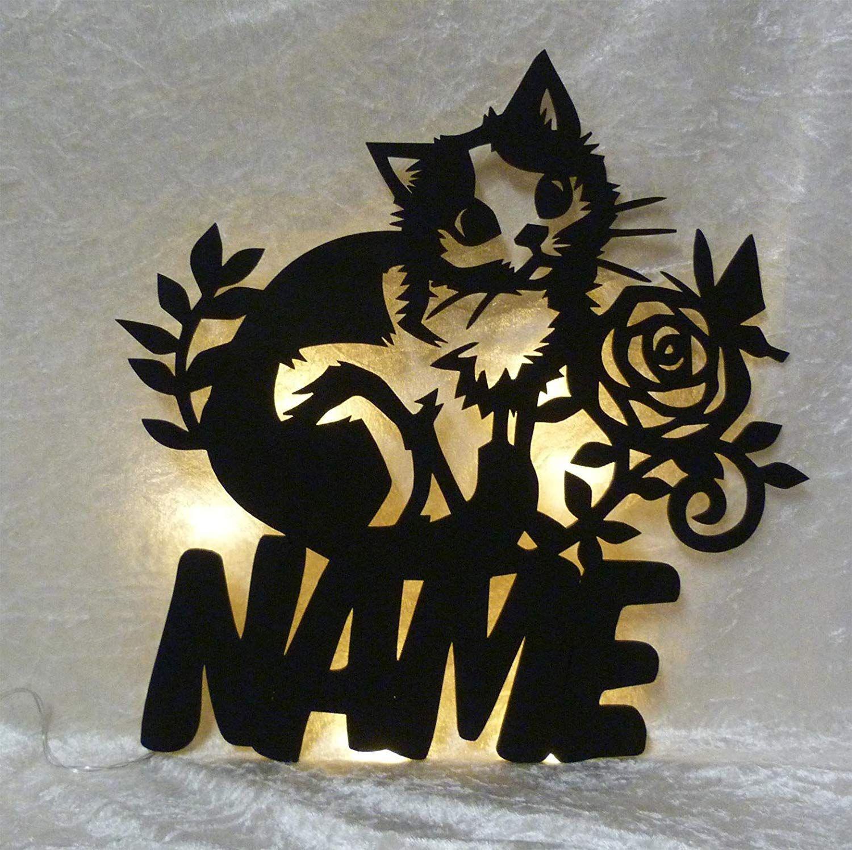 Schlummerlicht24 Led 3d Deko Lampe Kitticat Katze mit Name