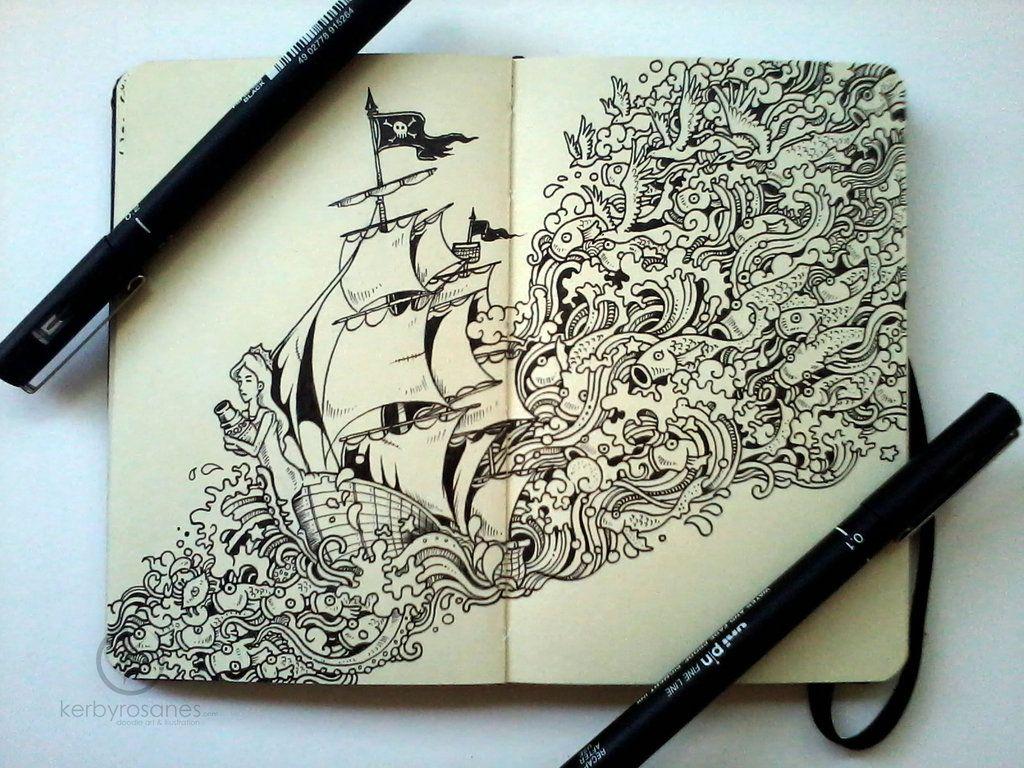MOLESKINE DOODLES Journey By Kerbyrosanesdeviantart On DeviantART Doodles Hehehehehe