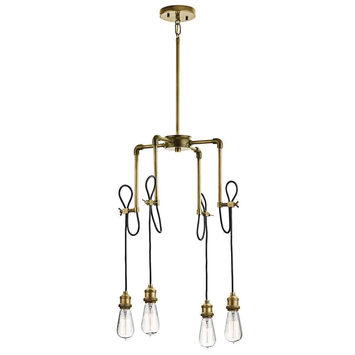 Kichler nbr rumer mini chandelier in natural brass lights
