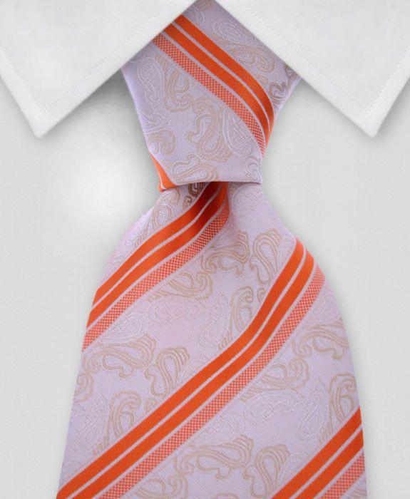 659b23eb5151 Ivory Paisley & Orange Striped Tie with POCKET SQUARE   Gentleman ...