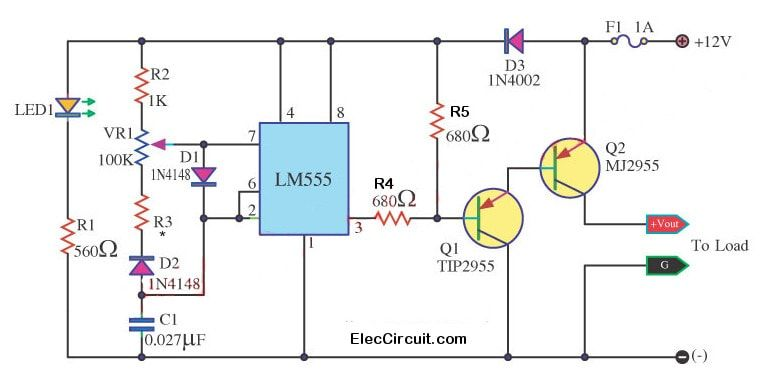 spot lamp dc dimmer circuit using lm555 tip2955 electric rh pinterest com Light Dimmer Schematic Diagram Diagram of LED Dimmer and Switch