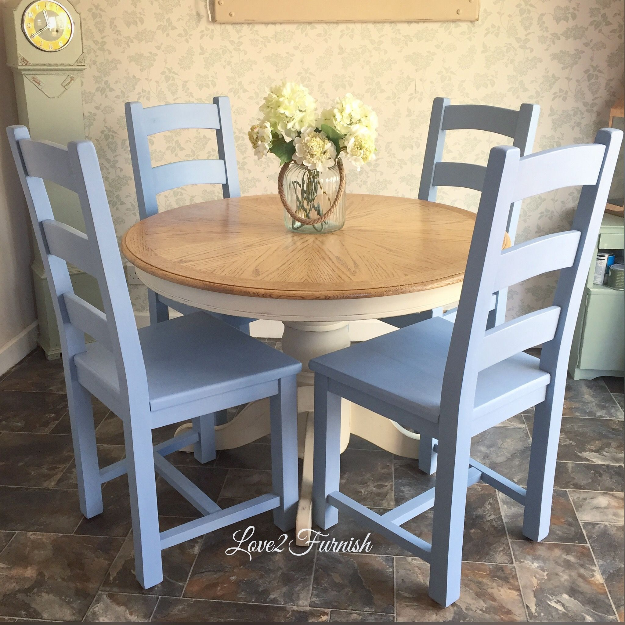 Pretty Pale Blue Dining Chairs Hand Painted In A Bespoke Mix Of Original Duck