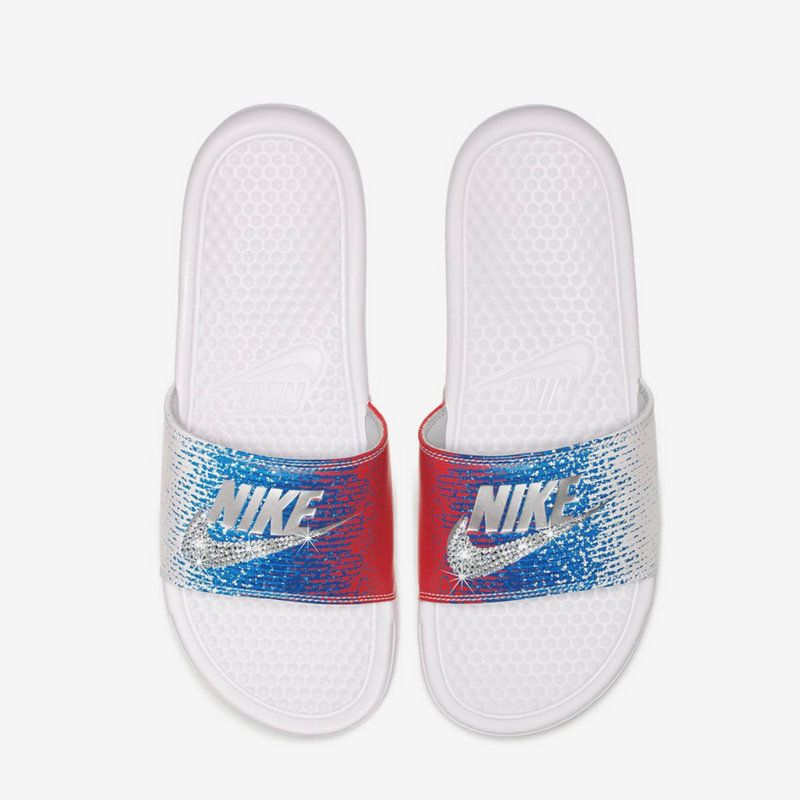 ed67fed67777 Nike Slides - Swarovski Nike - Crystal Sandals - Bedazzled Nike - Nike  Benassi JDI Slides - All Sizes - Red White and Blue Color - Sparkly by ...
