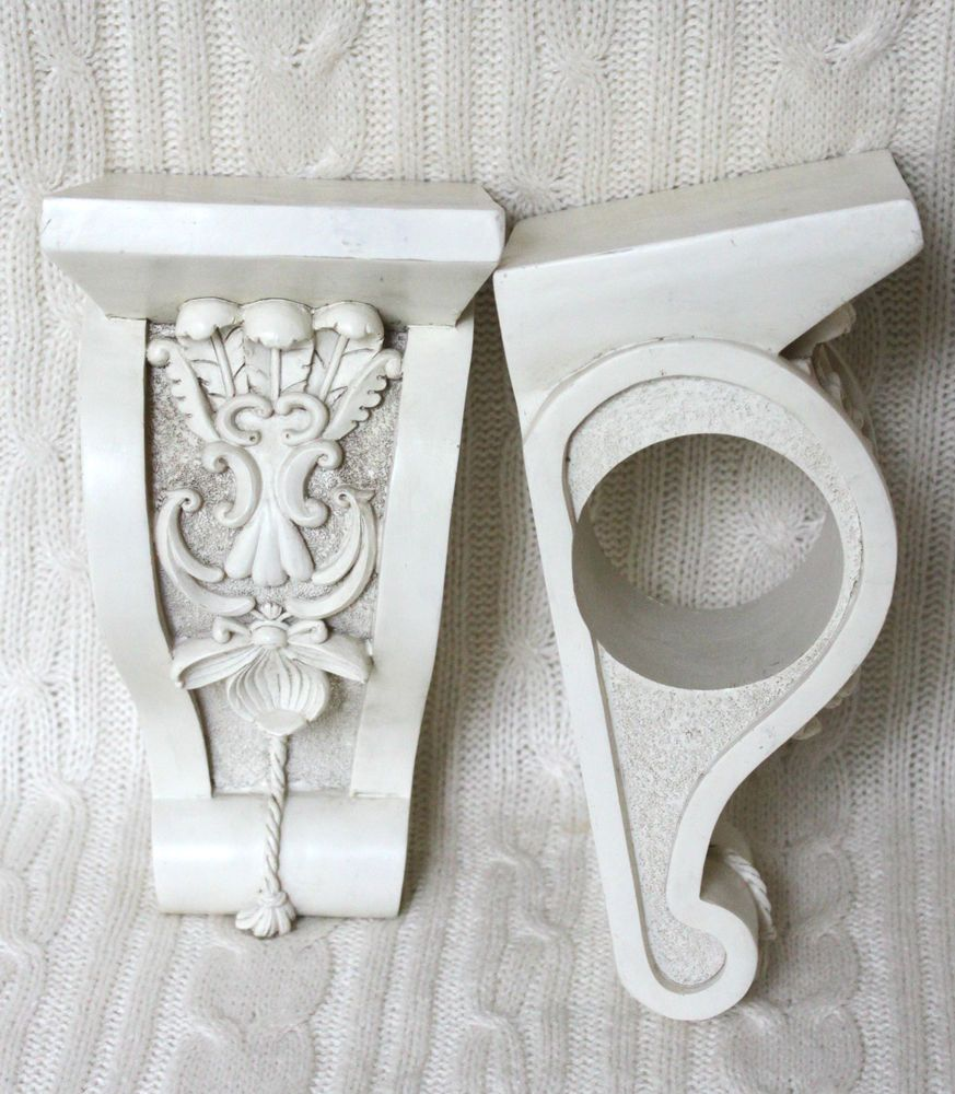 Pair Large Curtain Swag Rod Holders Brackets Corbels Shabby Chic