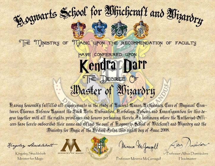 Diy harry potter hogwarts diploma harry potter hogwarts for Hogwarts certificate