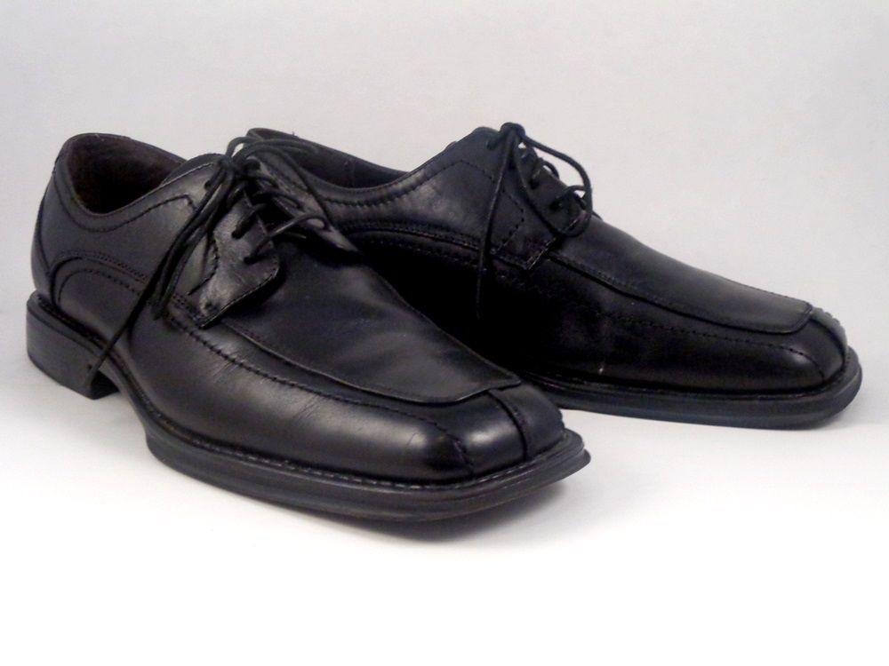 Men's Black Dress Shoes Formal Casual Slip-On Loafer Solid Lace Up Square Toe (11 D(M) US Men Black)