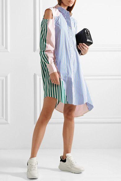 Cutout Patchwork Striped Cotton-poplin Shirt Dress - Blue sacai ZOwvhUTBP