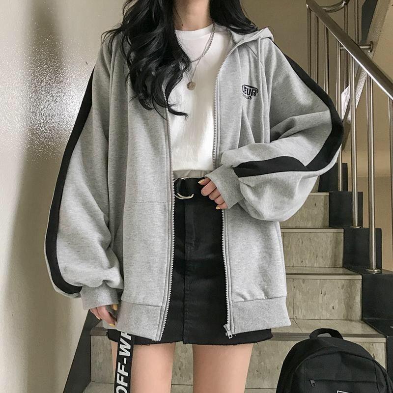Photo of Korean Hoodie Student Wear Plus Velvet Winter Warm Pocket Striped Harajuku Japan Hoodie Fashion Gray