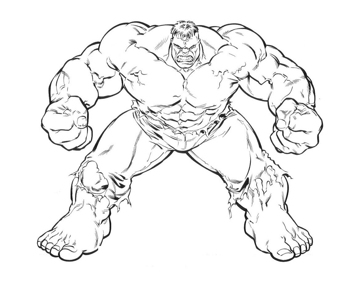 Printable Strong Great Hulk Coloring Page For Kids Gambar