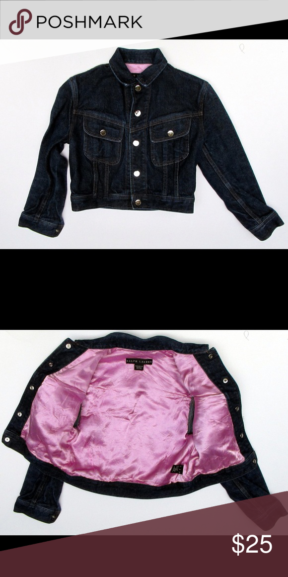 """Ralph Lauren Black Label Girls Denim Jacket Great jacket for the girly girl in your life!  Premium denim and lined with pink satin. Silver snap front closure and at the wrist. Cheat measures 32"""", sleeve length is 19"""", and back length is 16"""".  No defects that I can see. Ralph Lauren Black Label Jackets & Coats Jean Jackets"""