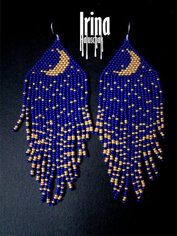 Blue Seed Bead earrings Moon earringst Minimalist earrings Boho earrings Gold moon earrings Dangle earrings  earrings Long earrings