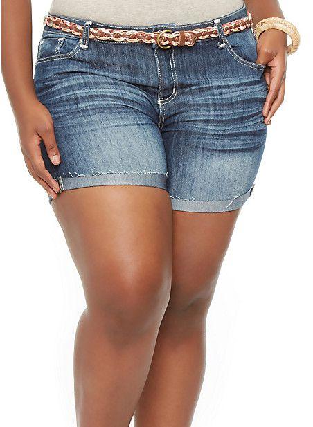 Plus-Size Cuffed Denim Shorts   Cuffed denim shorts ...