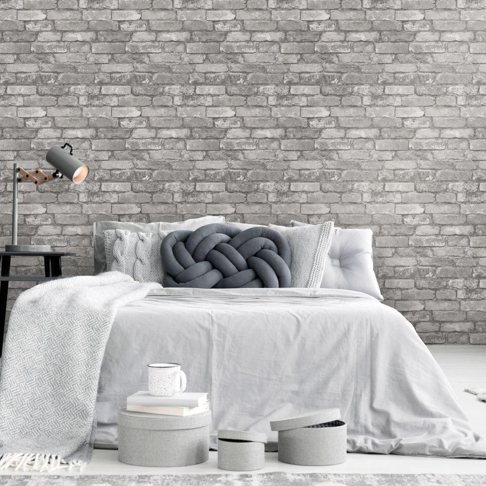 Rustic Brick Wallpaper Silver, Grey in 2020 White brick