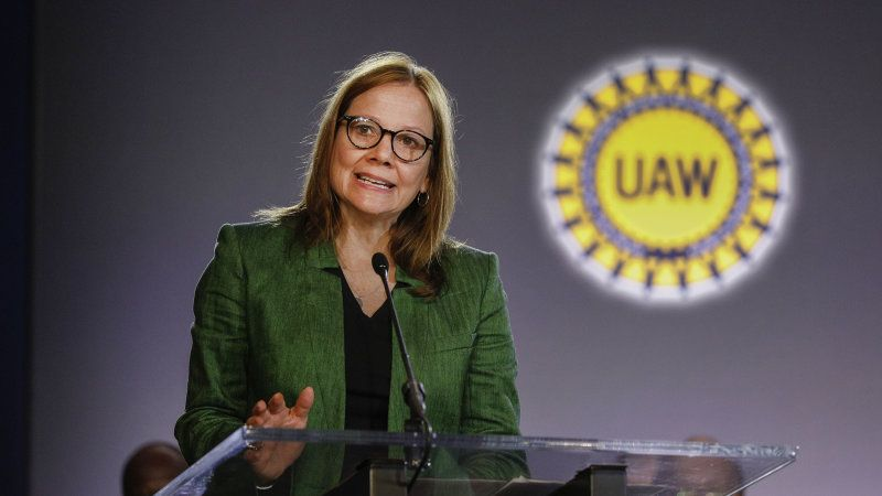 Gm ceo mary barra meets with striking uaw leadership with
