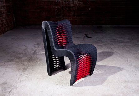 Seat Belt Dining Chair Black Red By