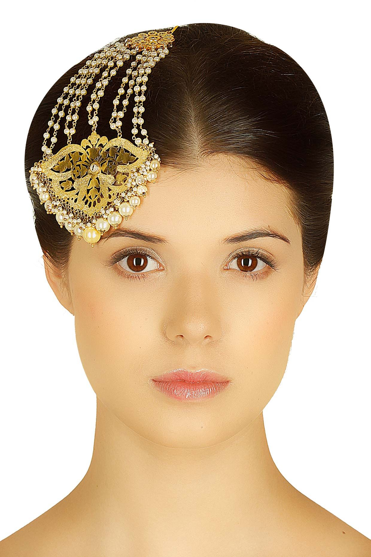 Gold plated orchid flower and pearl passa available only at Pernia s
