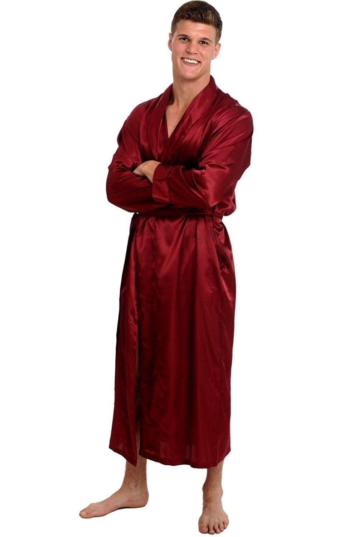 cecb6949f0 Mens Satin Robe- Long Lightweight Loungewear - Burgundy ...