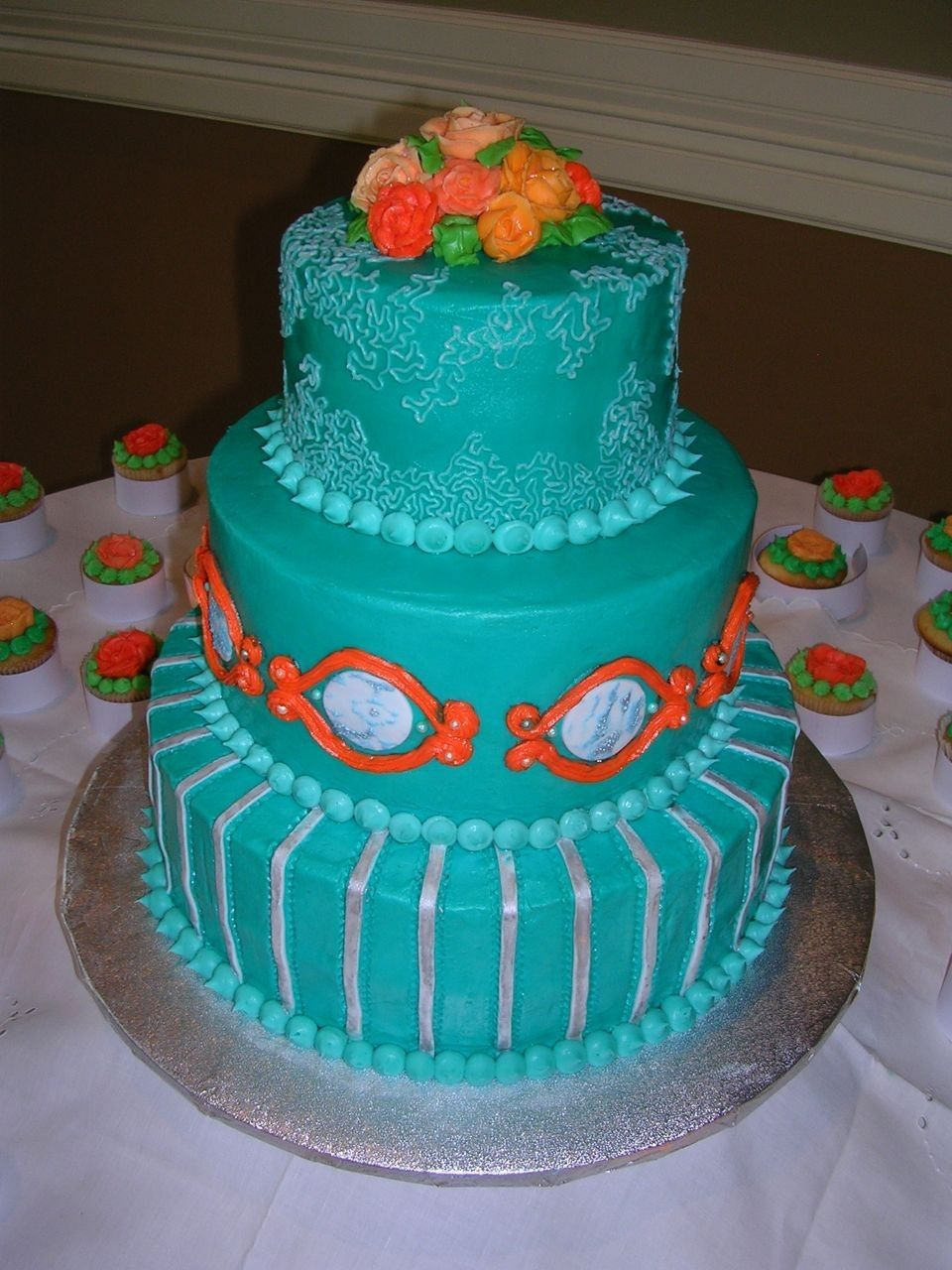 Teal and coral wedding cake artistic wedding purplealso pretty