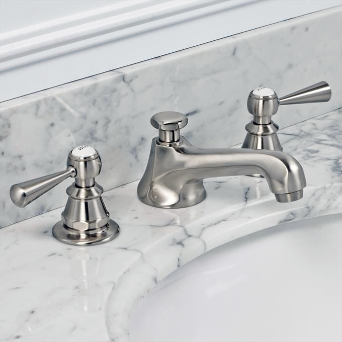 Classic Wide Spread Lavatory Faucet With British Lever Handles In Brushed Nickel