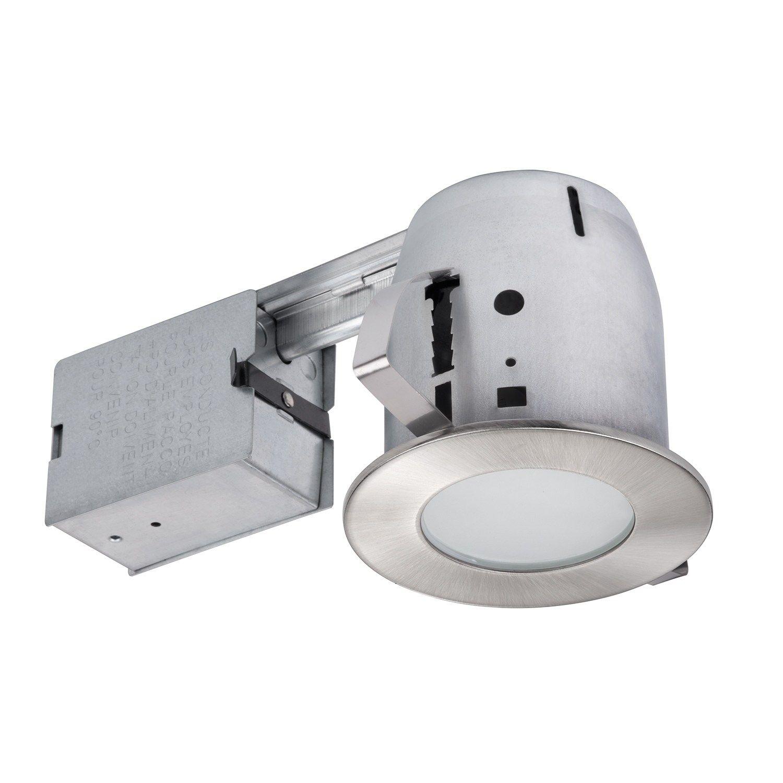 4 Flush Round Trim Recessed Lighting Kit Brushed Nickel Tempered Frosted Glass Grey Globe Metal Deco Salle De Bain Led Et Salle De Bain