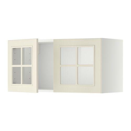 METOD Seinäkaappi + 2 vitriiniovea - Kroktorp luonnonvalkoinen, valkoinen - IKEA