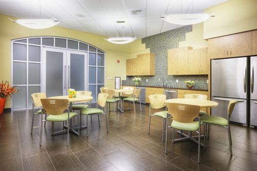 Simple Clean And Modern Breakroom Office Break Room Break Room Design Staff Lounge