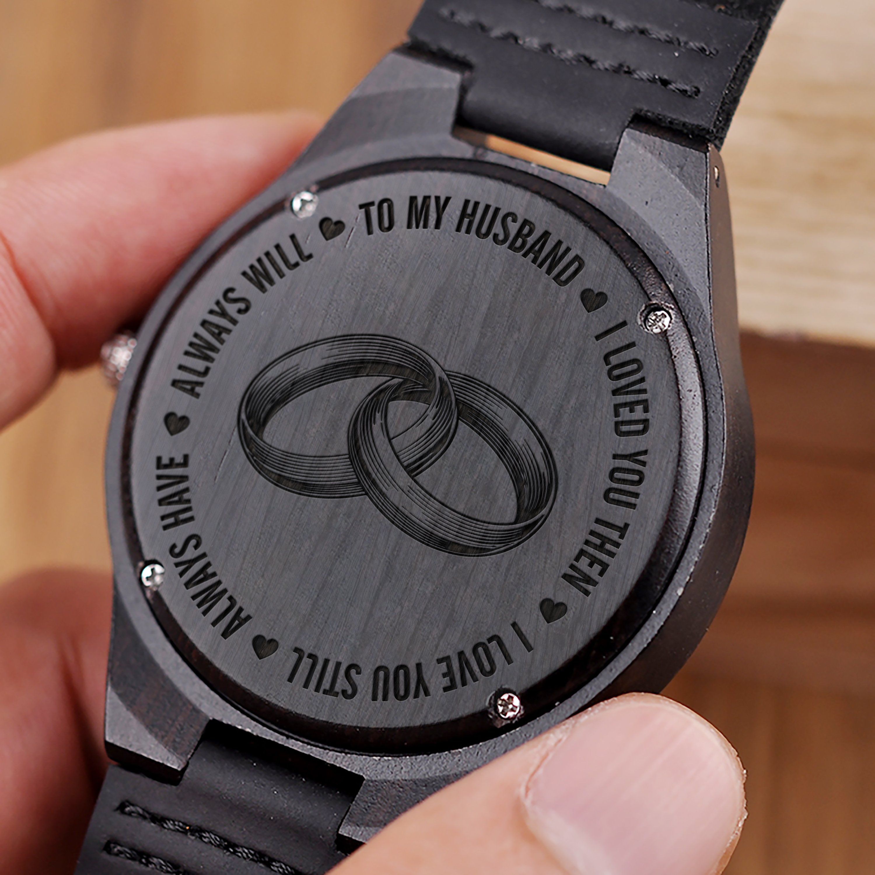 W1480 Always Have Always Will For Husband Engraved Wooden Watch Wooden Watch Engraved Wedding Watch Watch Engraving
