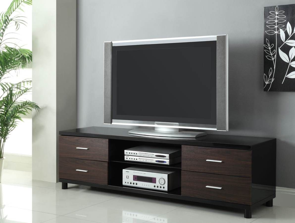 Coaster Furniture Black Walnut 4 Drawers Tv Stand Contemporary