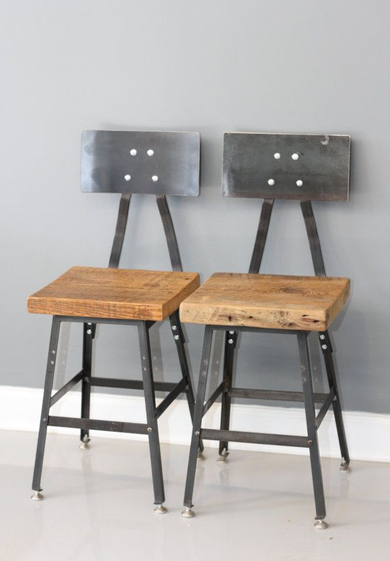 Set of 2 Reclaimed Wood Industrial Stools w/ Steel Backs - FREE SHIPPING - Industrial Modern - Salvaged Wood