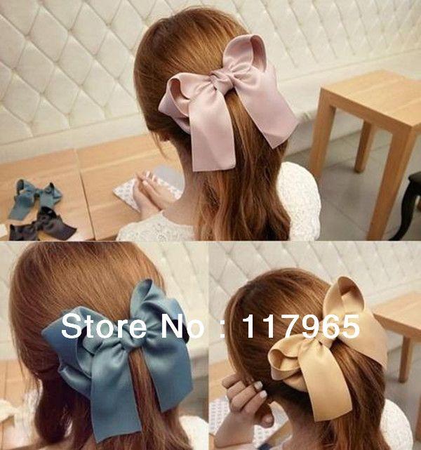 Korea Women Girl Large Satin Ribbon Ponytail Hair Bow Clips Barrettes Handmade