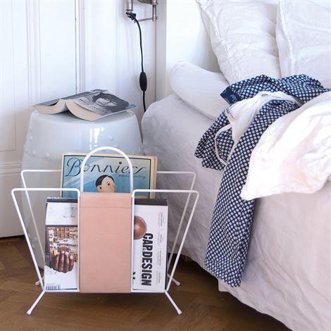 Suitcase magazine holder - white - Maze
