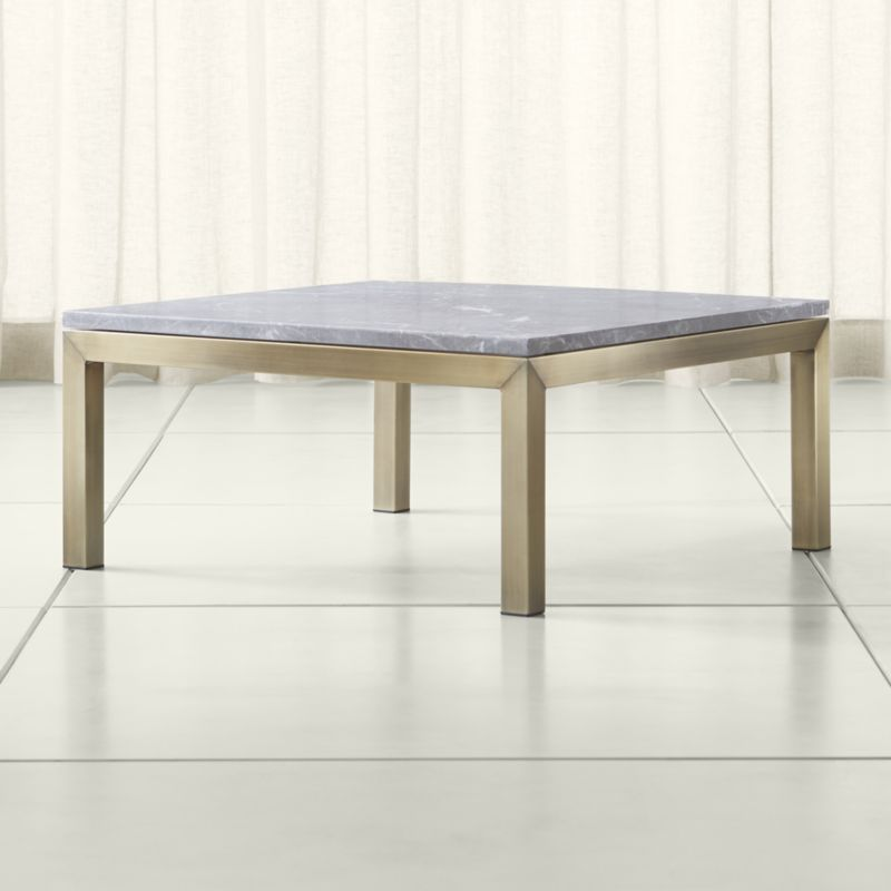 Shop Parsons Grey Marble Top Brass Base 36x36 Square Coffee Table