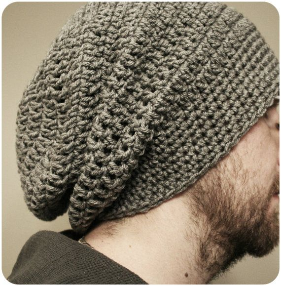 Mens Slouchy Beanie Gray Hats Crochet Slouchy Beanie Pattern