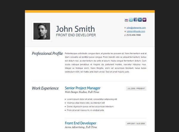 HTML Resume Templates to Help You Land a Job Resumes templates - Html Resume Template