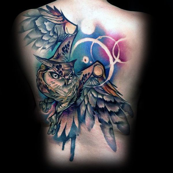 15 Mysterious Owl Tattoo Designs Meanings: 40 Owl Back Tattoo Designs For Men