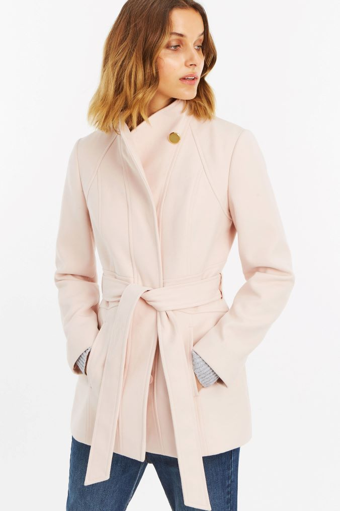 7d6fc116f571 Womens Oasis Pink Hazel Panel Fitted Coat - Pink | Products | Coat ...