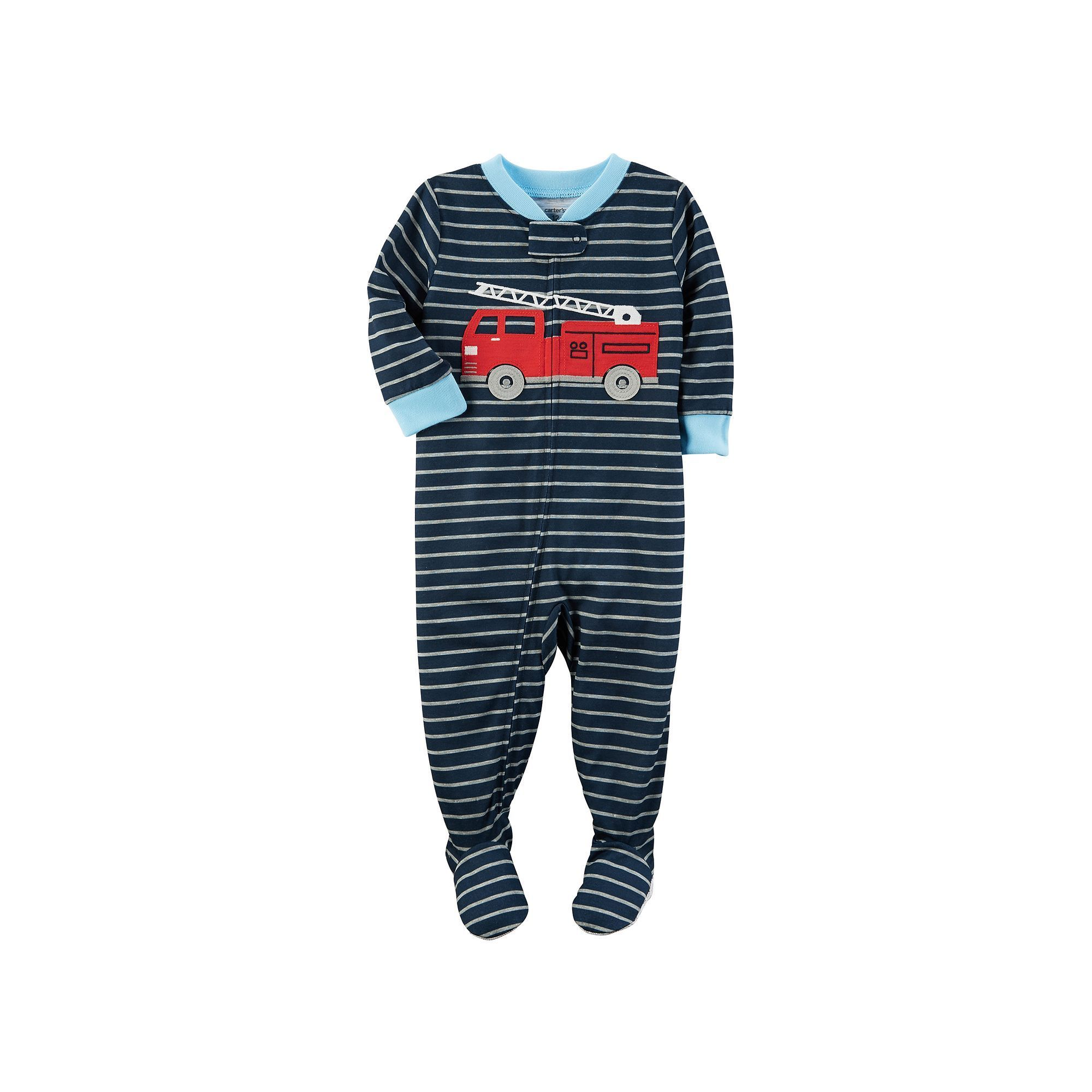 Baby Boy Carter s Fire Engine Striped Footed Pajamas Navy Firetruck