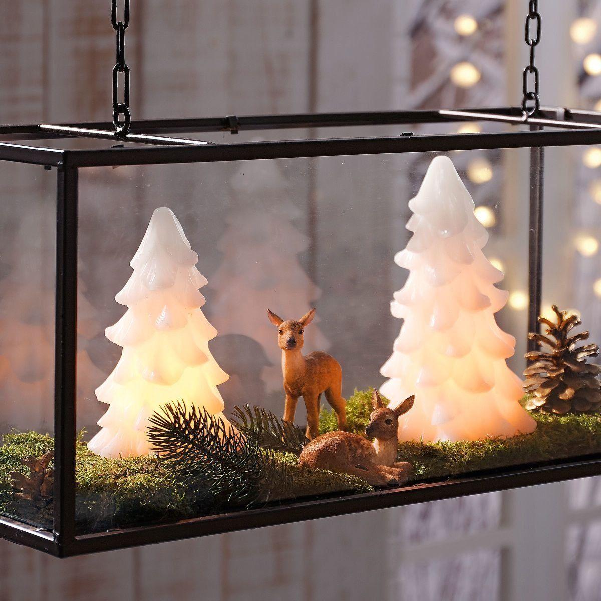 Weihnachtsdeko Beleuchtete Tannenbäume mit Flackereffekt Echtwachs ...