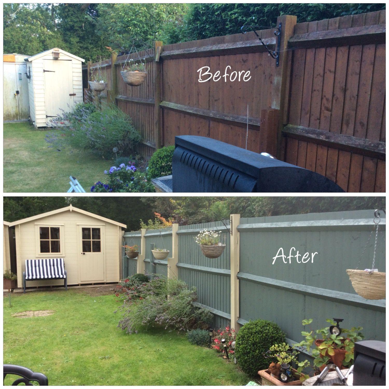 Brightening Up The Garden With Cuprinol Shades Country Cream Wild Thyme Brightening In 2020 Garden Fence Paint Painted Garden Sheds Cuprinol Garden Shades