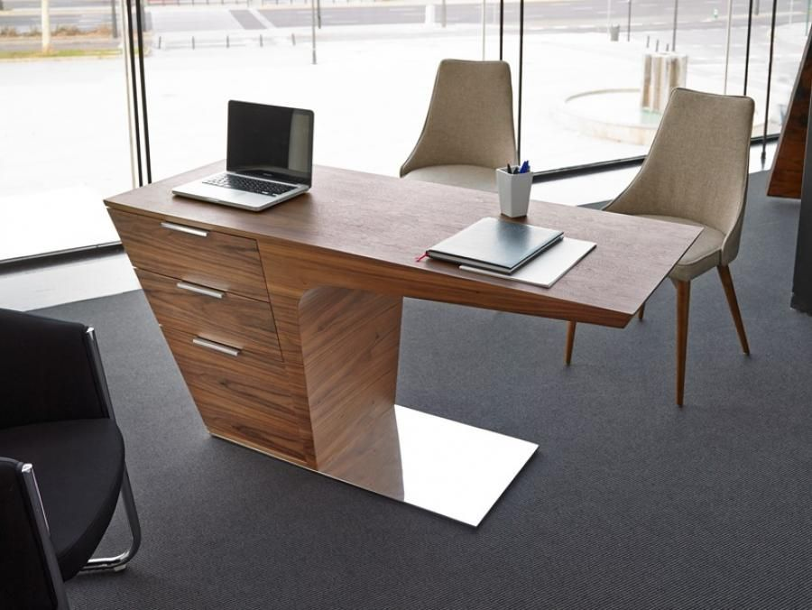 office desk walnut. contemporary office desk in a lovely walnut finish with drawers and stainless steel base